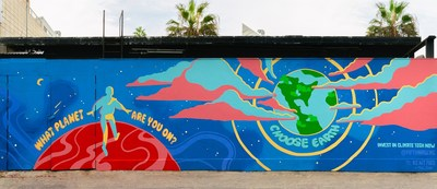Located at 6 Rose Avenue in Los Angeles' Venice neighborhood, the mural features a whimsical depiction of a subject standing on Mars and choosing to take a leap of faith back towards Earth.