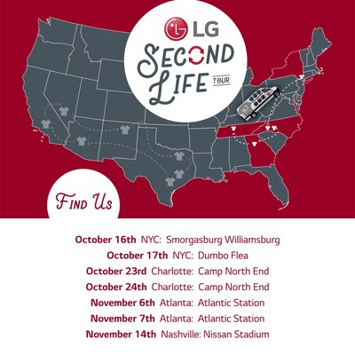 The LG Second Life East Coast Tour locations include New York City, Charlotte, Atlanta, and Nashville.