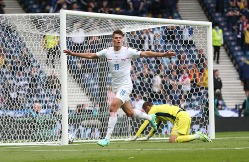 GLASGOW, SCOTLAND - JUNE 14: Patrik Schick of Czech Republic celebrates after scoring their side's first goal during the UEFA Euro 2020 Championship Group D match between Scotland v Czech Republic at Hampden Park on June 14, 2021 in Glasgow, Scotland. (Photo by Steve Bardens - UEFA/UEFA via Getty Images)