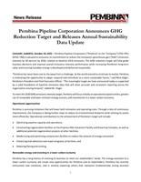 彭比纳管道公司宣布温室气体减排目标并发布年度可持续发展数据更新