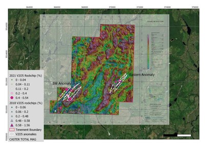 Figure 1: Rockchip sampling location, V2O5 geochemistry and interpreted mineralised lenses over aeromagnetic survey (total magnetic intensity). Two mineralised zones identified to date identified as SW Anomaly and Eastern Anomaly. (CNW Group/[nxtlink id=