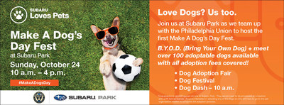 Subaru is teaming up with the Philadelphia Union to host the first Make A Dog's Day Fest on October 24th (10am – 4pm) at Subaru Park. A variety of vendors and local animal organizations will be on-site with over 100 dogs available for adoption. Come eat, play fetch, and adopt! Register: bit.ly/makeadogsdayfest #SubaruLovesPets