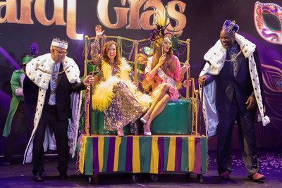 """Carnival Corporation President and CEO Arnold Donald, Carnival Cruise Line President Christine Duffy, Mardi Gras' Godmother Miss Universe, Dominican Republic, Kimberly Jimenez, and Carnival's Chief Fun Officer Shaquille O'Neal usher in the """"Universe of Fun"""" at Mardi Gras christening."""