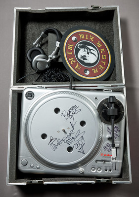 Mix Master Mike equipment from Hard Rock's memorabilia collection.