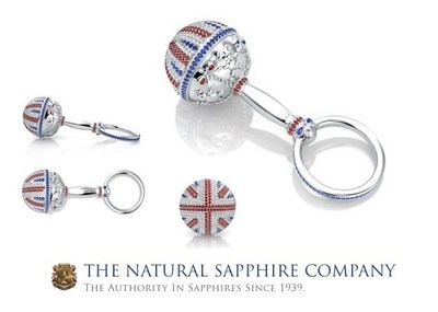 The Natural Sapphire Company's 18K White Gold Sapphire Ruby And Diamond Rattle