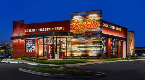 Red Robin Gourmet Burgers and Brews restaurant exterior. Red Robin Gourmet Burgers and Brews is a casual dining restaurant chain famous for serving more than two dozen craveable, high-quality burgers with Bottomless Steak Fries in a fun environment welcoming to guests of all ages. (C)2015 balloggphoto.com