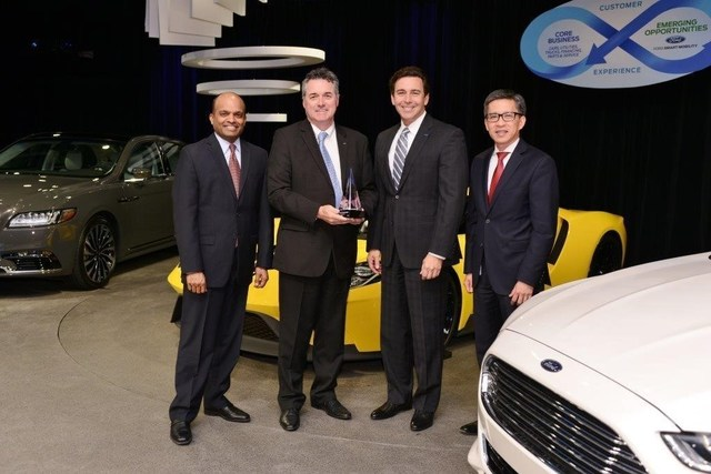 Maxion Wheels receives the 2016 Ford World Excellence Award for quality excellence during a ceremony on May 19, 2016. Pictured from left to right are: Raj Nair, Executive Vice President, Product Development and Chief Technical Officer, Ford Motor Company; William Wardle, Vice President, Sales and Marketing, Maxion Wheels; Mark Fields, President & Chief Executive Officer, Ford Motor Company; and Hau Thai-Tang, Group Vice President, Global Purchasing, Ford Motor Company.