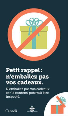 N''emballez pas les cadeaux (Groupe CNW/Administration canadienne de la sûreté du transport aérien (ACSTA))