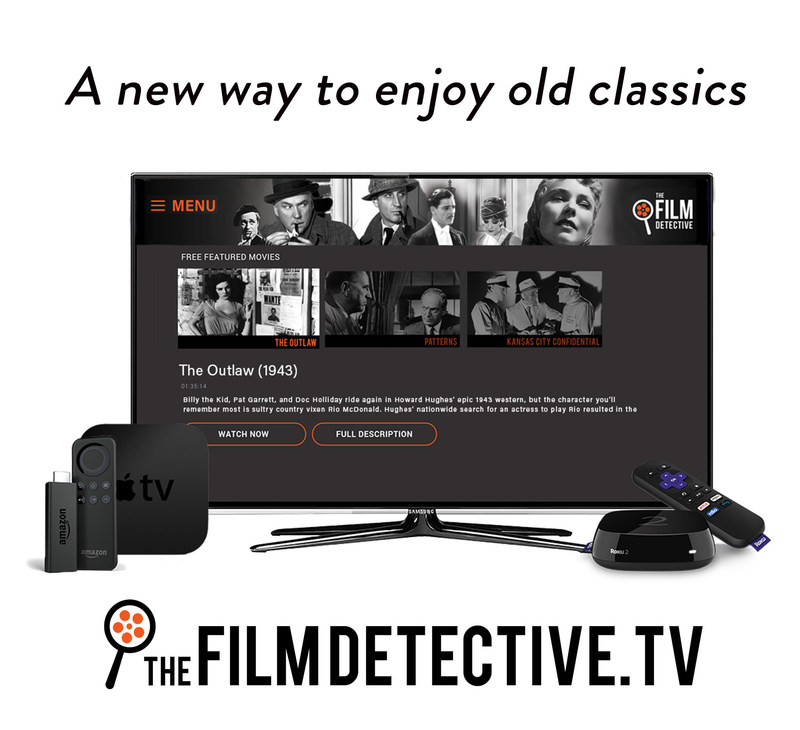 Vintage film reborn! A new way to enjoy old classics on Roku, Amazon Fire TV and Apple TV from The Film Detective. (PRNewsFoto/The Film Detective)