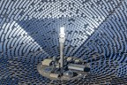 SolarReserve's Crescent Dunes Solar Energy Facility, in commercial operation in Nevada USA, delivers both 110 megawatts of power plus 1,100 megawatt-hours of energy storage (PRNewsFoto/SolarReserve)