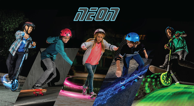 NEON is blazing the trail with four new decked out ride-ons that will blind the competition with their kid-powered LED lights to ensure the brightest ride possible.
