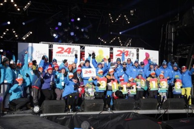 Tremblant's 24h sponsored children unveiled a record amount of $3,114,313 raised during the 16th edition of the event which took place from December 9 to 11, 2016. (CNW Group/Tremblant's 24h)
