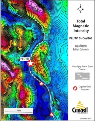 Canasil Vega Project Airborne Magnetics Survey, November 2016; PLUTO Area Surface Showings, Multiple Gold-Copper Porphyry Prospects over a 4-km Shear Zone Contact (CNW Group/Canasil Resources Inc.)