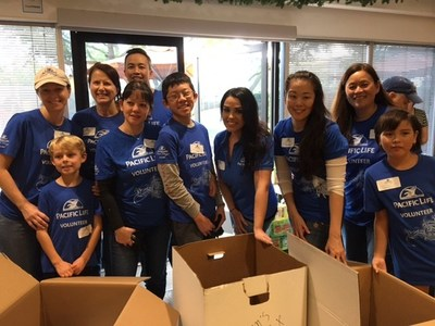 Pacific Life volunteers at HomeAid Orange County Care Kit Day