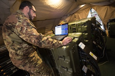 """The two transportable data centers that Italtel deployed at the NATO Rapid Deployable Corps Italy (NRDC - ITA) in Solbiate Olona (Italy) have been recently used for the first time during the """"Summer Tempest - Eagle Meteor 2016"""" training exercise which brought together several armies from member countries of the Atlantic Alliance. (PRNewsFoto/Italtel)"""