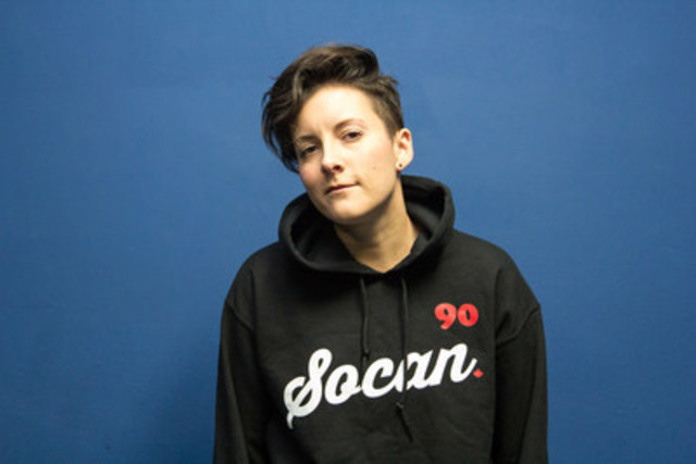 "SOCAN member Ria Mae, singer of huge hit ""Clothes Off"", sporting a ""SOCAN 90"" hoodie available at SOCAN's new merchandise store with proceeds going to the Unison Fund. (CNW Group/SOCAN)"