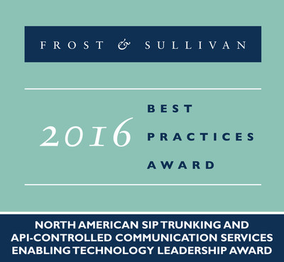 Frost & Sullivan recognizes Flowroute Inc., a leading provider of cloud-based communications, with the 2016 North American Enabling Technology Leadership Award.