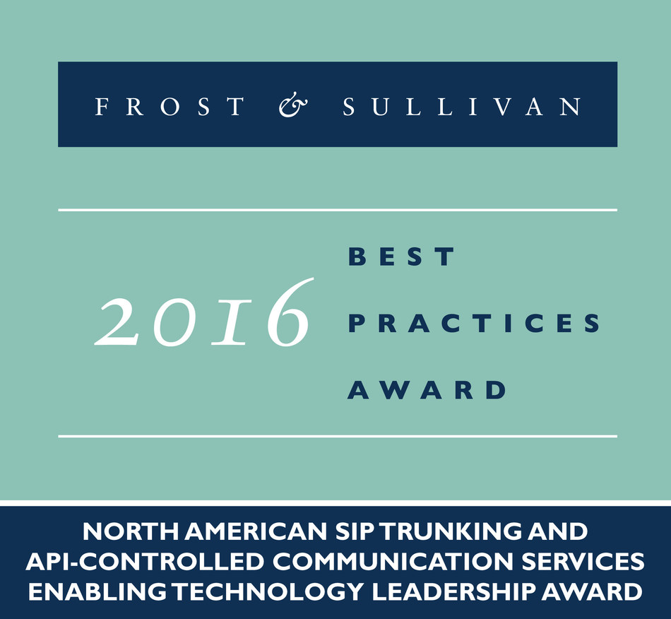 Frost & Sullivan recognizes Flowroute Inc., a leading provider of cloud-based communications, with the 2016 North American Enabling Technology Leadership Award. (PRNewsFoto/Frost & Sullivan)