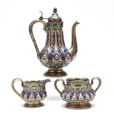 A Russian Silver Gilt & Cloisonne Enameled Coffee Set, from The Collection of Dr. & Mrs. Richard Epes, to be offered at public auction on December 16, 2016, at 1:00 P.M., by Leland Little Auctions.