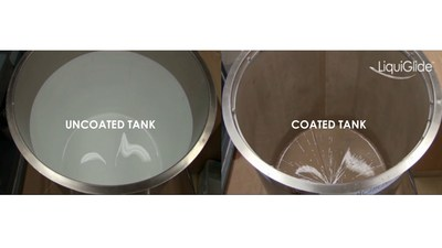 As compared to an uncoated paint tank after evacuation (left), LiquiGlide's CleanTanX(TM) system (right) virtually eliminates paint sticking to tank walls.