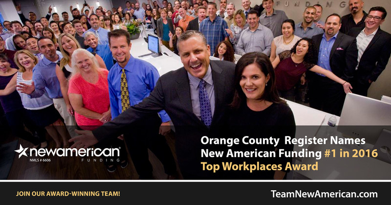 Orange County Register Names New American Funding #1 in 2016 Top Workplaces Award.