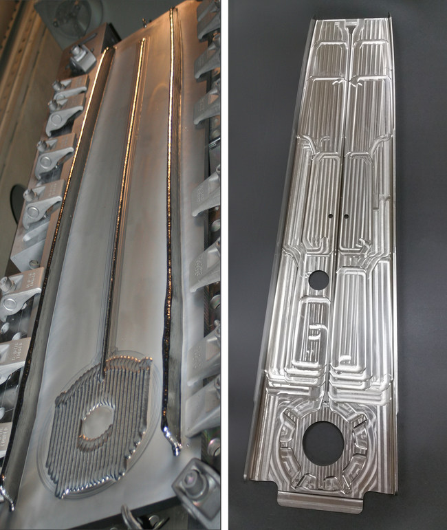 This photo highlights two different stages of an Airbus rear upper spar that was 3D printed in titanium with Sciaky's EBAM process. The image on the left shows the part in an early preform stage. The image on the right shows the finished part.