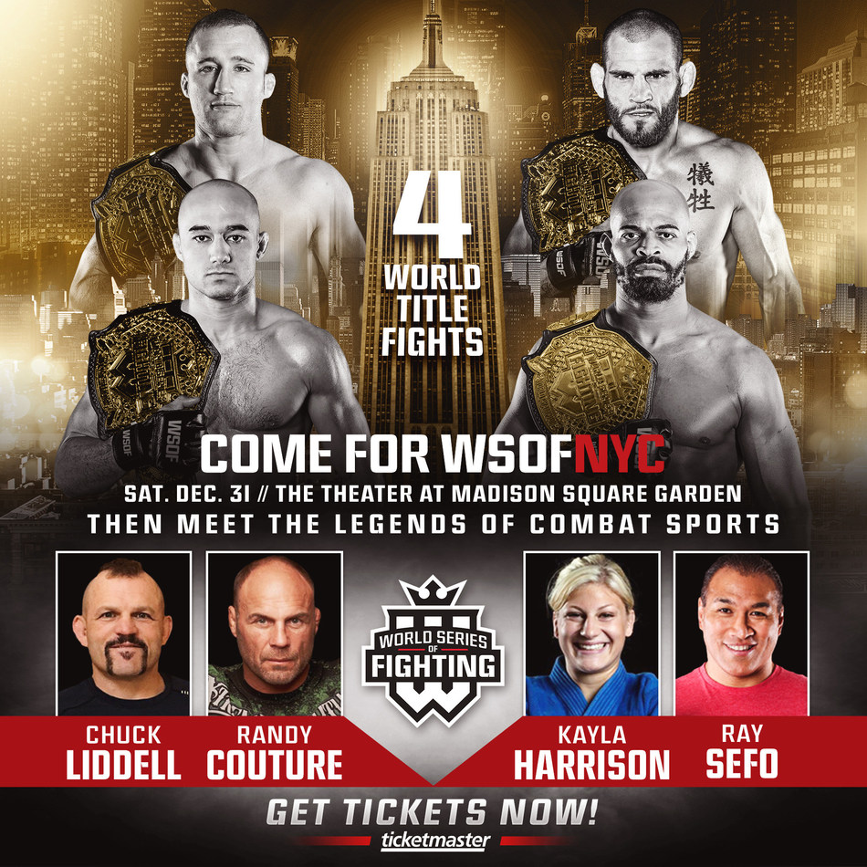 WSOFNYC ADDS DEC. 31 POST-FIGHT FAN SIGNING WITH MMA LEGENDS CHUCK LIDDELL AND RANDY COUTURE