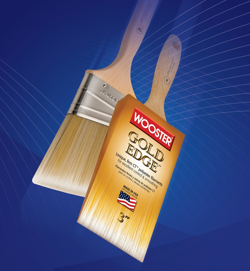 Over the years some painters have expressed a desire for a brush with increased rigidity; Wooster's new Gold Edge brush line is a direct response to that demand. Utilizing a filament blend of 100% CT(TM) (Chemically Tipped) polyester means that Gold Edge paintbrushes are able to offer super-smooth finishing capabilities. They're also built with added firmness which allows Gold Edge brushes to push paint farther--increasing production.