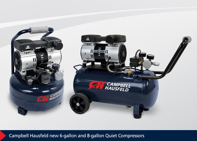 Delivering the power needed to complete common air compressor applications while providing the quiet operation to work virtually anywhere, the new Campbell Hausfeld Quiet Compressors -- available in 6-gallon and 8-gallon models -- offer sound output that is up to 50 percent less than conventional designs.