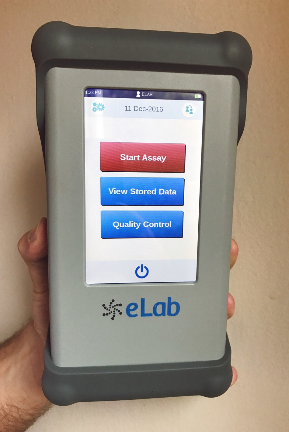 The Nanomix eLab is simple to operate via an intuitive user interface on a color touch screen and incorporates a proprietary nano-biosensor for high quality, reliable performance. The single-use disposable test cartridge uses the patient's whole blood, without sample preparation. All test functions are controlled and automatically processed by the device. The robust system design supports use in almost any setting, inside or outside of the traditional laboratory environment.