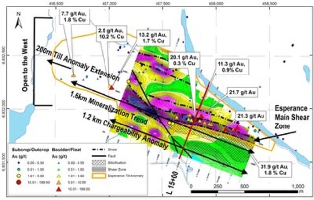 Figure 1 : Chargeabilité dans le secteur Espérance, montrant les hautes teneurs en Au-Cu obtenues d'échantillons choisis prélevés lors de la campagne de prospection 2016 (valeurs élevées en bleu et faibles en vert). La principale zone de cisaillement minéralisée est associée à une anomalie de chargeabilité de 1,2 km de long et demeure ouverte vers l'ouest. (Groupe CNW/RNC Minerals)