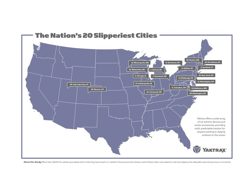 Yaktrax, manufacturer of a variety of traction and warming products, has released findings from a recent YouGov consumer survey detailing the nation's slipperiest cities. Here you can see the top 20 Slipperiest Cities in the U.S.