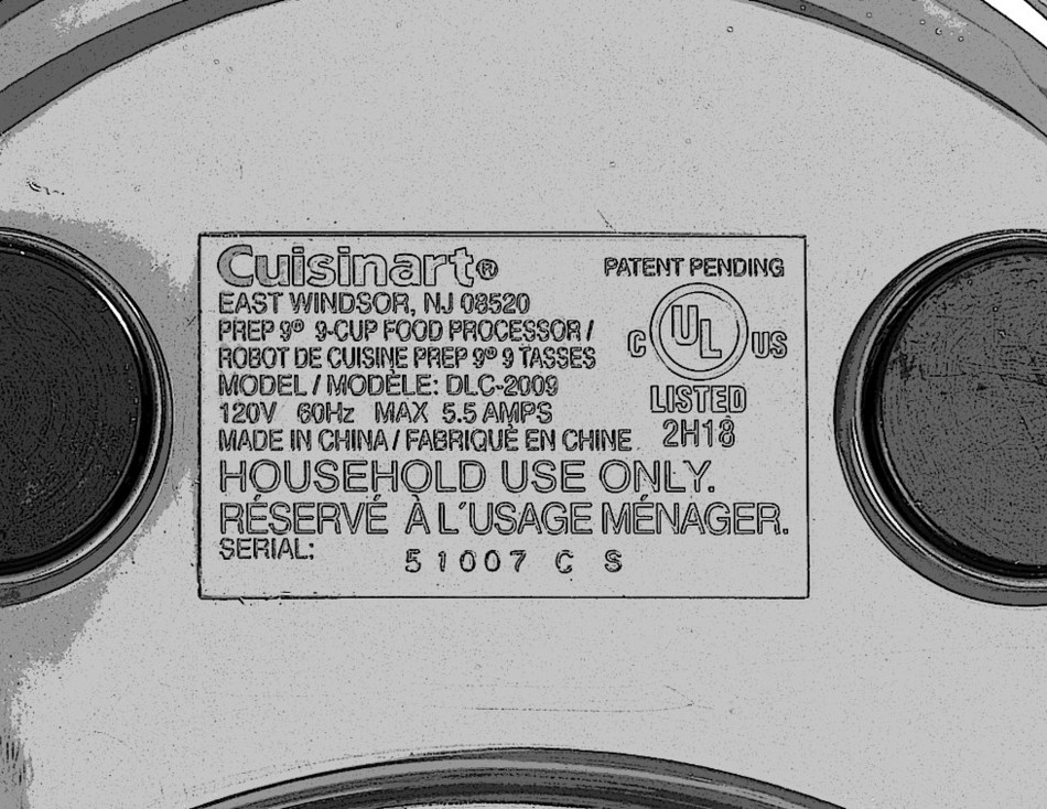 Rating Plate on Bottom of Recalled Cuisinart Food Processor with Riveted Blades