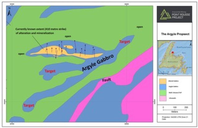 Exhibit A.  A geological map of the Argyle Prospect showing the known extents of alteration and mineralization as well as other target areas thought to be underlain by the Argyle gabbro. (CNW Group/Anaconda Mining Inc.)