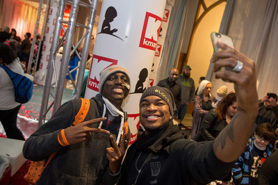 Patient Armond takes a selfie with NE-YO as they join St. Jude Children's Research Hospital and top partner, Kmart, in celebrating $100 million in lifetime donations.