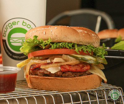 Burger Boss offers customers 35 options to customize their burger, such as this classic grassfed beef single with turkey bacon, Swiss cheese, grilled onions and fresh veggies.