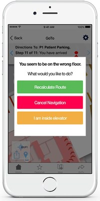 MediNav indoor navigation features voice prompts, off-route notification, visual landmark references and more.