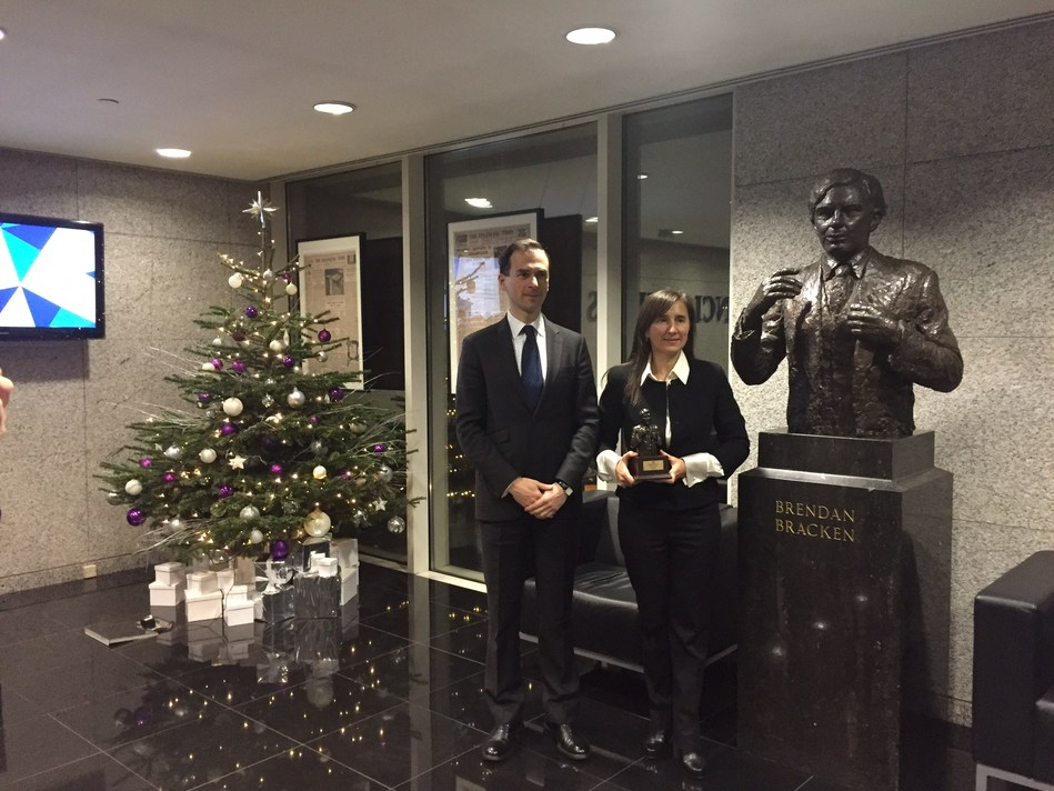 PrivatBank Deputy Chairwoman Ludmila Schmalchenko accepts Bank of the Year in Ukraine award from The Banker in London.