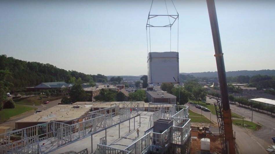Prefabricated SurePod Bathroom Flown into Senior Living Project