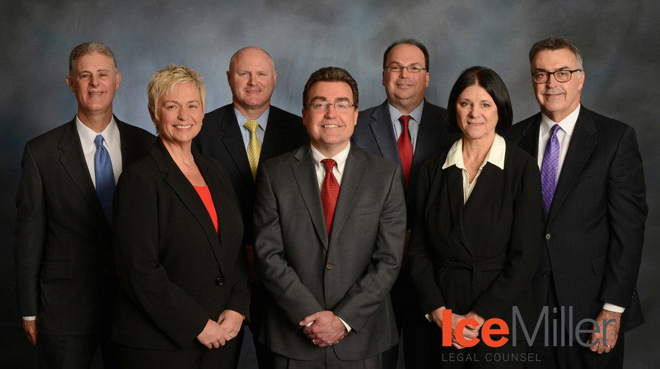 Pictured from left to right:  Dave Hight (office managing partner in Ice Miller's DuPage County office), Maureen Maffei (of counsel), George Weems (of counsel), Dan Coman (partner), Jeffrey Platt (of counsel), Lynn Cagney (of counsel) and Dean Leffelman (partner in Ice Miller's DuPage County office)