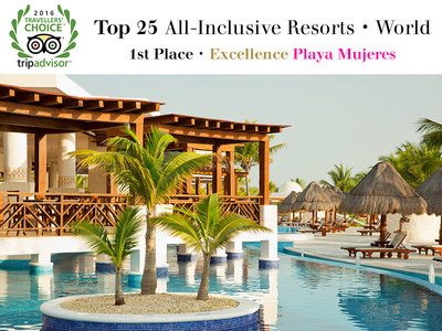 Excellence Playa Mujeres named Best All-Inclusive Resort in the World by the 2016 TripAdvisor Travelers' Choice Awards.