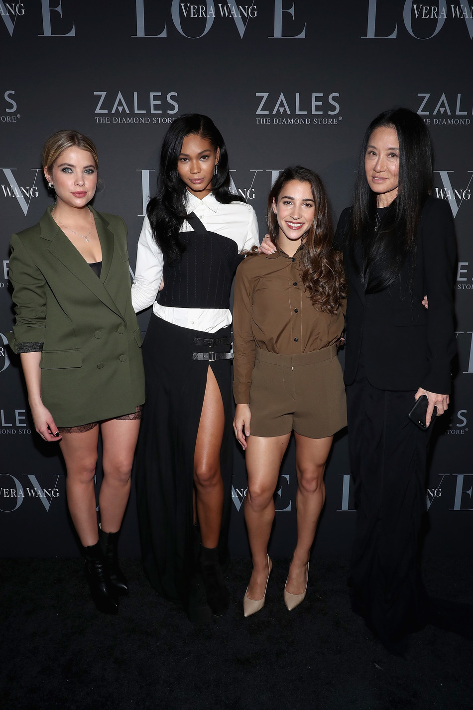 Ashley Benson, Chanel Iman and Aly Raisman join Vera Wang at the Vera Wang LOVE holiday event at Betony in New York City on December 7, 2016.