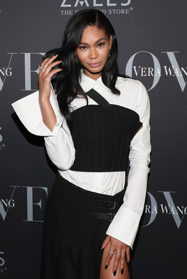 Chanel Iman wore Vera Wang LOVE sterling silver, diamond and sapphire threader earrings and stacked diamond anniversary bands from the collection to the Vera Wang LOVE holiday event at Betony in New York City on December 7, 2016.