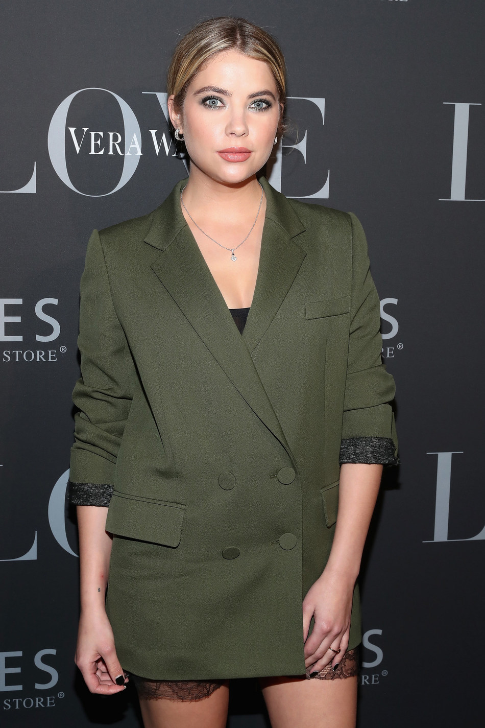 Ashley Benson chose mini Vera Wang LOVE chevron hoop earrings in white gold and a diamond and white gold princess cut drop pendant from the collection for the Vera Wang LOVE holiday event at Betony in New York City on December 7, 2016.