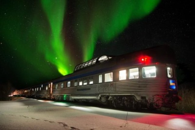 """VIA Rail will officially launch the """"aurora borealis season"""" on January 24, taking you to one of the best spots in the world to enjoy Mother Nature's greatest show up-close - Churchill. Every year, thousands of tourists from all corners of the earth take the train to watch the sky change from green to pink to violet. While it is possible to see the northern lights almost year-round, the optimal viewing conditions are from January to March. (CNW Group/VIA Rail Canada Inc.)"""
