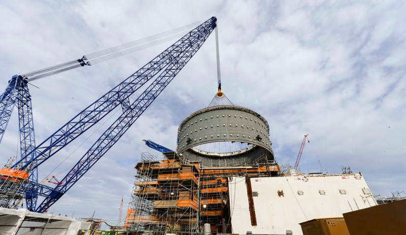 The second containment ring, weighing 2.4 million pounds, is lifted into place at the Vogtle nuclear expansion in Georgia. The ring placement continues a series of major lifts performed in recent weeks, which has also included the setting of both the 612,000-pound Unit 3 reactor vessel and 2-million pound Unit 4 CA01 module.