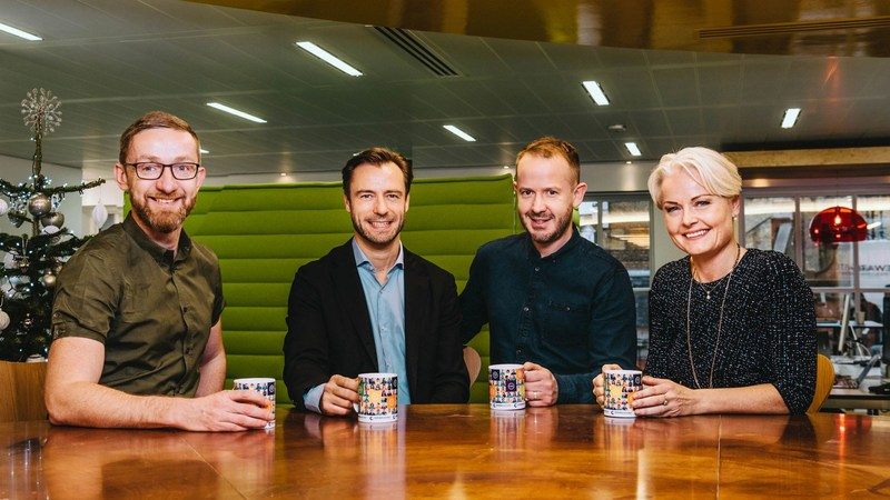Pictured from left to right: Glenn Elliott (CEO of Reward Gateway), Lars Peter Busch (Co-Founder and MD of LogBuy), Matt Drew (Director of M&A at Reward Gateway) and Susanne Laursen (Co-Founder and MD LogBuy). (PRNewsFoto/Reward Gateway)