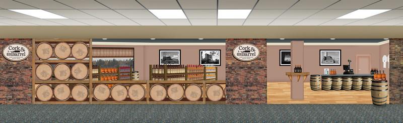 Cork & Barrel store rendering at Blue Grass Airport