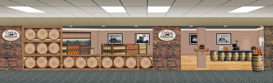 Cork & Barrel store rendering at Blue Grass Airport