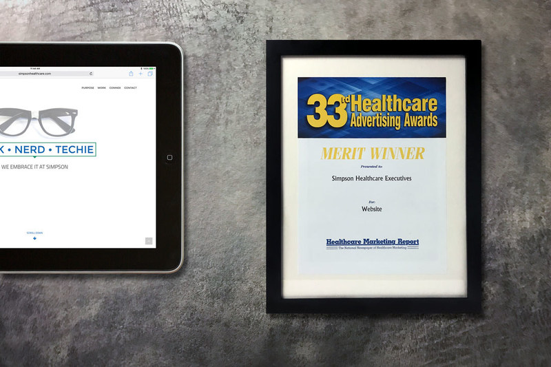 Simpson Healthcare Executives' Website Award Certificate from the 2016 Healthcare Advertising Awards